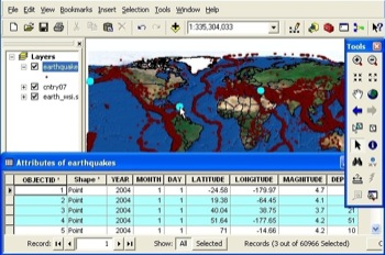 Attribute Table of Quakes