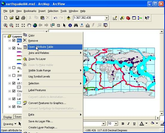 Using arcgis to analyze earthquake patterns for Table tag attributes in html