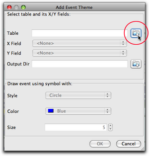 Add event theme button circled