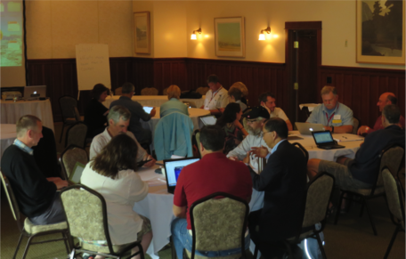 GeoEthics workshop participants discuss assessing student learning.