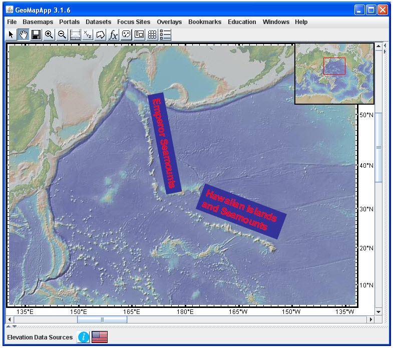 Hawaiian Emperor Seamount Chain In GeoMapApp