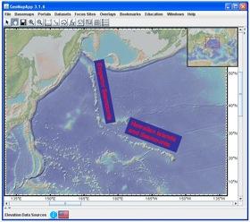 Hawaiian-Emperor seamount chain in GeoMapApp