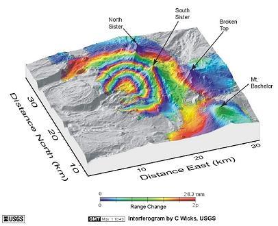 Интерферограмма из 3-х сестёрского вулканического региона