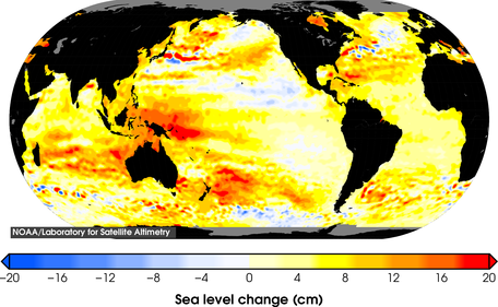 Total sea level change since 1993.