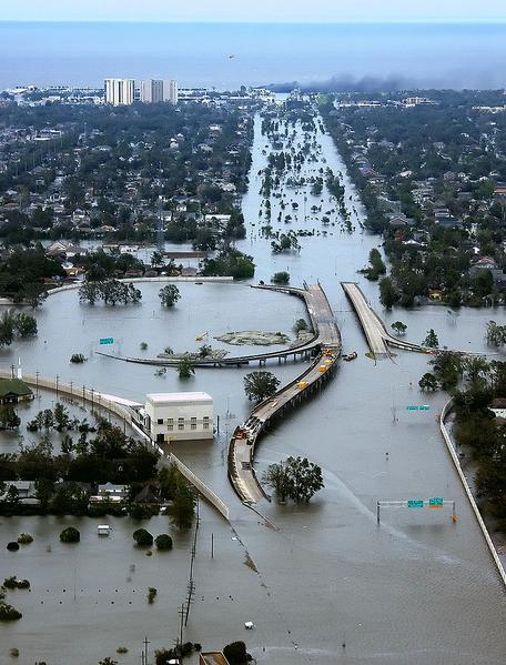 Flooding in New Orleans from Hurricane Katrina