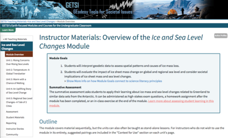 Example of GETSI module overview page