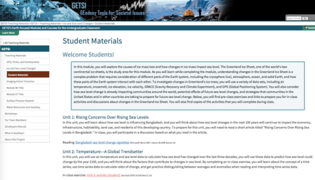 Example of GETSI student materials page