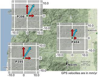GPS velocities at 3 neighboring stations