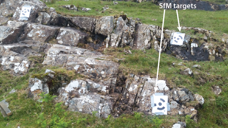 Agisoft-style SfM targets on outcrops
