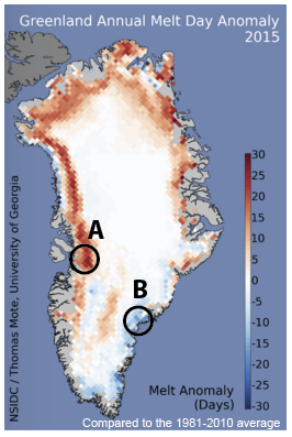 Greenland 2015 melt day anomaly map