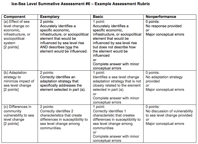 summative assessment #6 rubric image