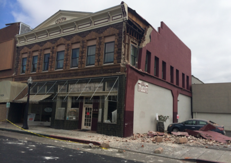 Damaged unreinforced masonry building from the South Napa 2014 earthquake