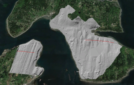 LiDAR image of Seattle Fault crossing Bainbridge Island