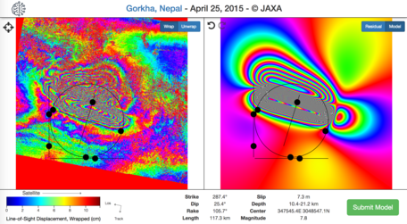 Visible Earthquake is an interactive InSAR modeling tool