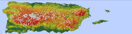Landslide Analysis module banner. Landslide hazard map of Puerto Rico with higher hazard areas in the mountainous interior as higher probability landslide hazard. Numerous white dots show landslides that were triggered by 2017 Hurricane Maria.