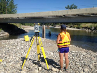 Two traditional river surveyors taking measurements
