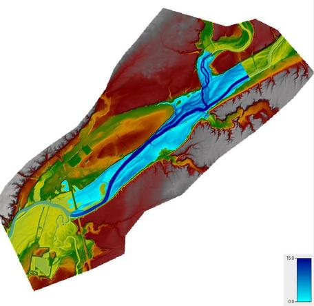 A Flood Inundation Map of a river and its floodplain. Water depth from a specified flooding event is shown on top of a digital elevation model of the Tippecanoe and Wabash rivers.
