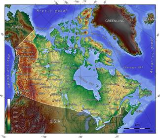 Topographic map of Canada
