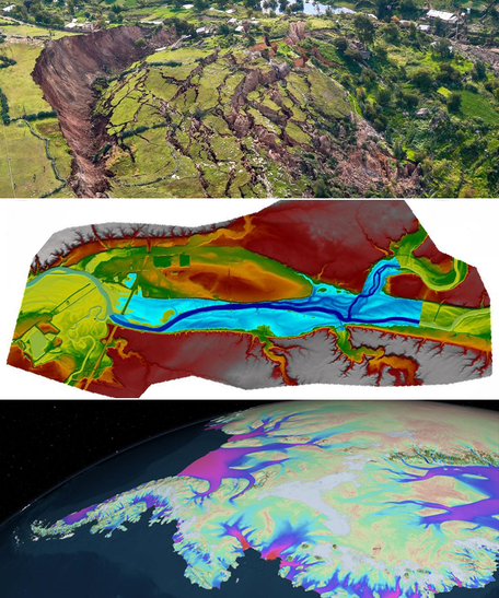 3 stacked images showing landslide scarp, flood hazard model, and InSAR-derived ice velocities on Antarctica.