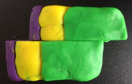 Play-Doh model of a dextral fault, map view