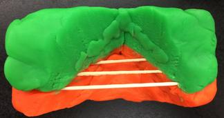 Play-Doh model, structure contour lines marking a dipping contact