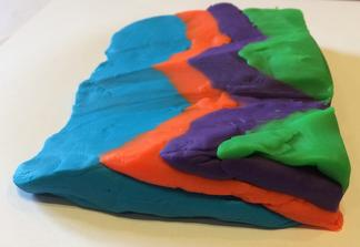 Play-Doh block model, planar dipping beds cut by erosion