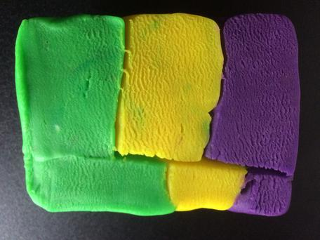 Play-Doh model of reverse fault + erosion, map view