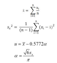 Equations used for computing statistical parameters 2