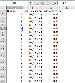 Excel Screen shot showing an equation