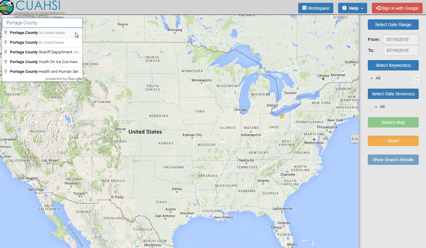 Screenshot of CUAHSI Hydroclien tMap View
