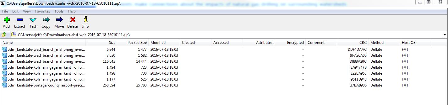 Screenshot of unzipping a file in 7zip
