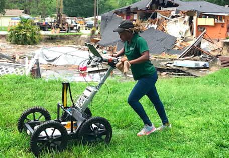 Student conducting a GPR survey