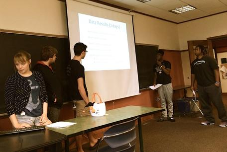 Wittenberg students track personal habits & share solutions of interest to campus in Wittenberg's First Year Seminar.  (Freshmen in Dr. Shelley Chan's class.)