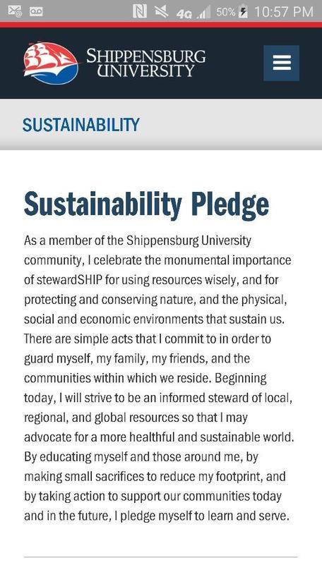 Shippensburg University Sustainability Pledge