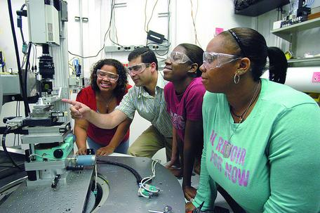 Southern University and A&M College FaST students work at the Advanced Photon Source at Argonne National Laboratory.
