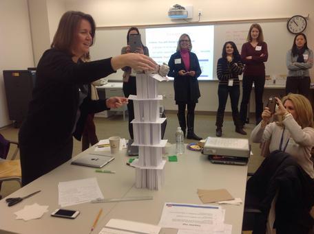 Teacher training building a tower
