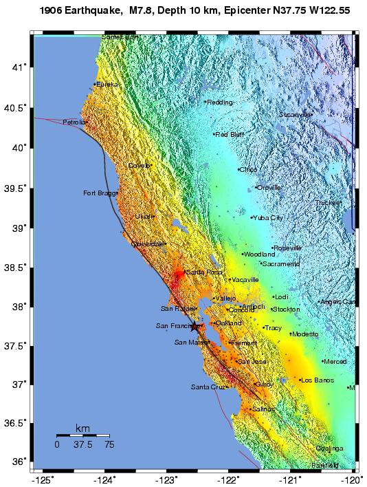 1906 Earthquake Map.1906 Earthquake Boatwrite Intensity