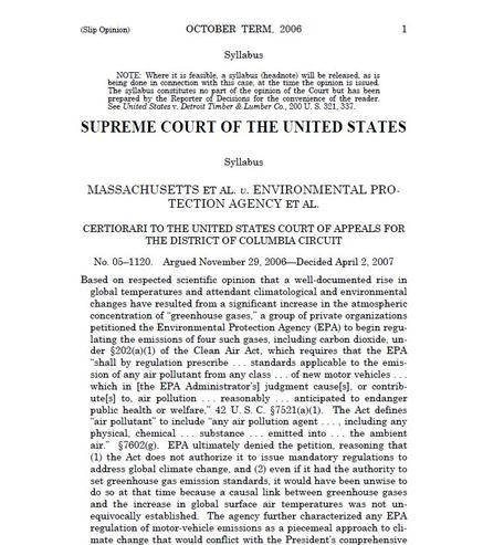Supreme Court Opinion. Massachusetts vs. EPA. 2007