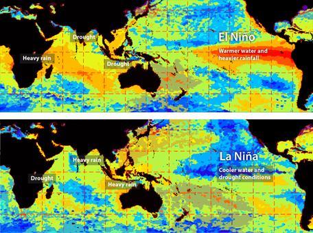 ENSO rain & drought locations