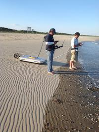 Photo of Dr. Cornell using GPR at Wallops Island