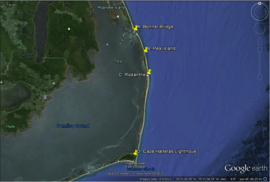 Googer Earth Image Shows Location Of Outer Banks Sites Bonner Bridge Pea Island