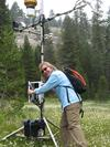 Martha Conklin at a weather station in Long Meadow, Sequoia National Park, where she does research on meadows.