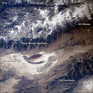Satellite image of the Sierra Nevada range and Owens Valley