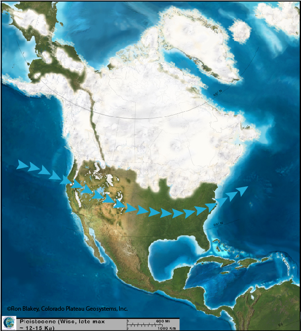 Laurentide ice sheet map with jet stream and lakes