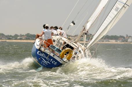 Sailboat making using lift to go toward the wind.