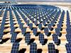 Solar panels in a desert, for making electricity
