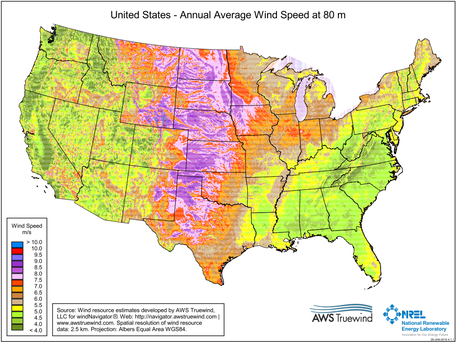 Average Wind Energy Distribution In Lower 48 States