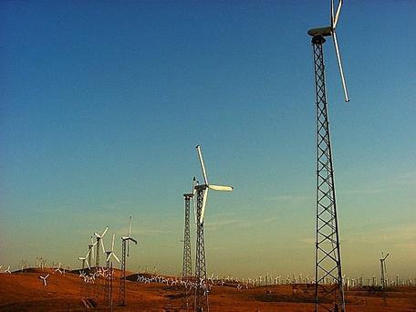 Early wind farm (circa 1980) Altamont Pass, CA