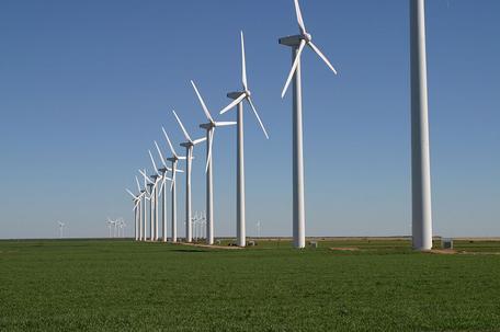 Modern wind farm in Texas