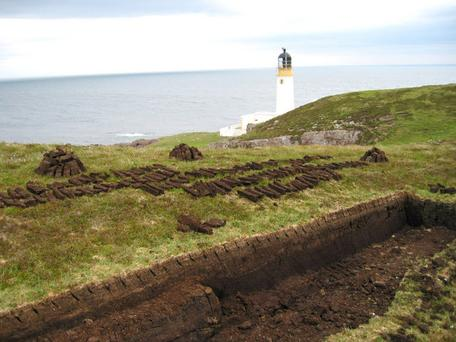 Peat cutting and harvesting in Scotland